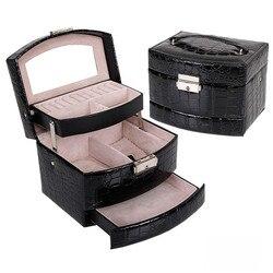 Jewelry Holder Crocodile Leather Jewelry Storage Lipstick Jewelry Organizer Display Rangement Bijoux Gift Beauty Jewelry Box