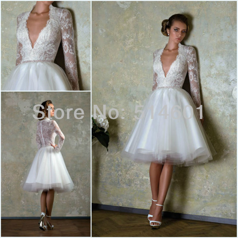 New v neck sheer back long sleeve lace bodice tulle knee for Knee length wedding dresses with sleeves