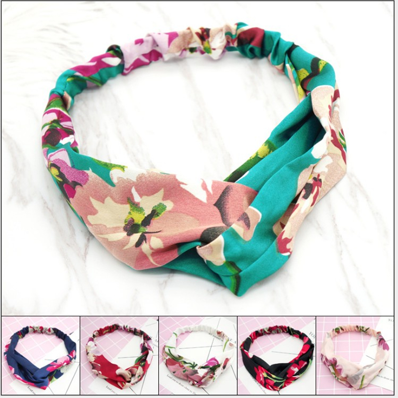 Floral Pattern Headdress Women Make-up Shampoo Band Cloth Headband
