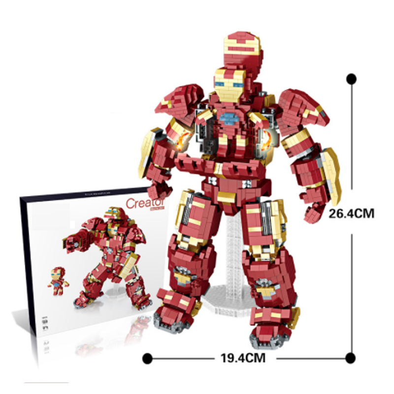 LWKO Diamond Blocks Building with Legoe Mecha Iron Robot 2In1 Super Heroes IronMan Brick Alliance Anime Figure Toys for Children цена