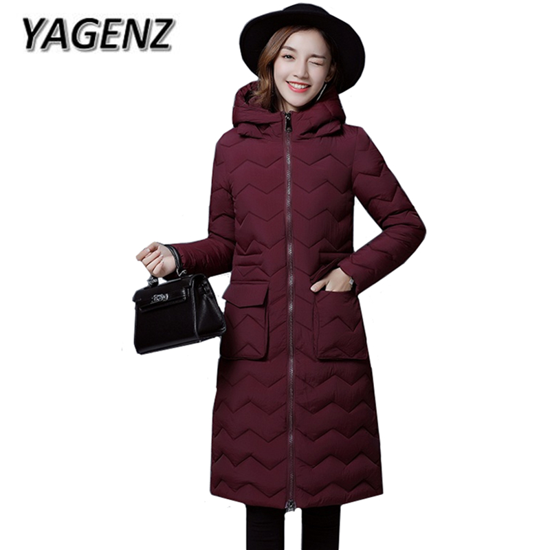 YAGENZ 2017 Winter Hooded Jacket Women Coat Korean Slim Thick Medium Long Cotton Coat Plue size Warm Solid Winter Female Jacket
