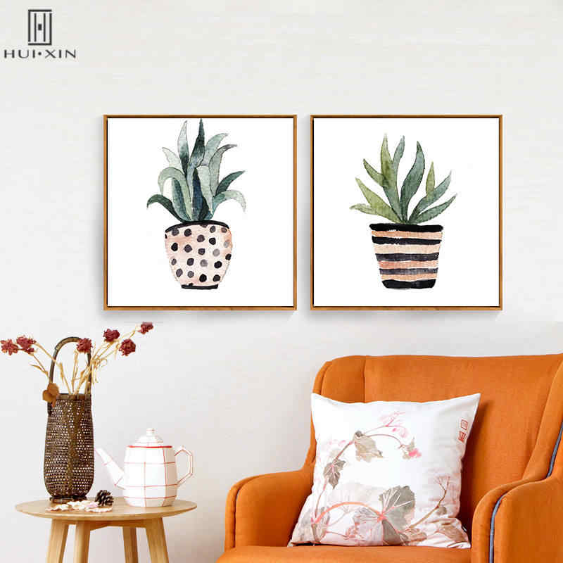 الشمال الطازجة وعاء النباتات الاستوائية الخضراء ورقة الزخرفية فرملس جدار الفن ملصق و paintng على قماش ل غرفة ديكور المنزل