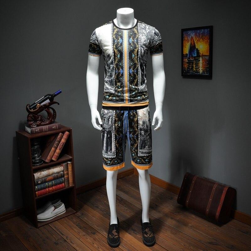 Mode de luxe été hommes ensemble décontracté t-shirt + Shorts ensembles Hip Hop Streetwear deux pièces Sweat costume pour hommes survêtements vêtements