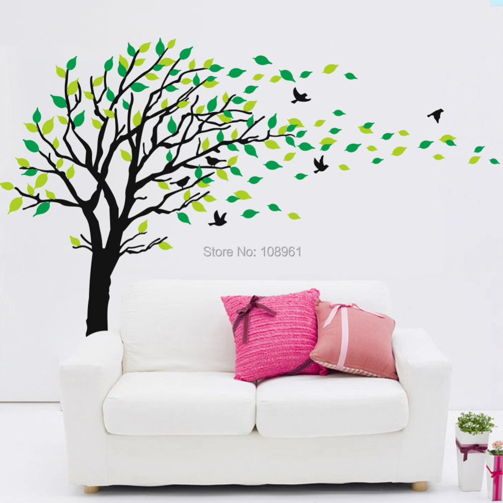 online shop large tree flying birds green leaf wall sticker art  - online shop large tree flying birds green leaf wall sticker art decalsmural decor decal stickers for living room bedroom  aliexpress mobile