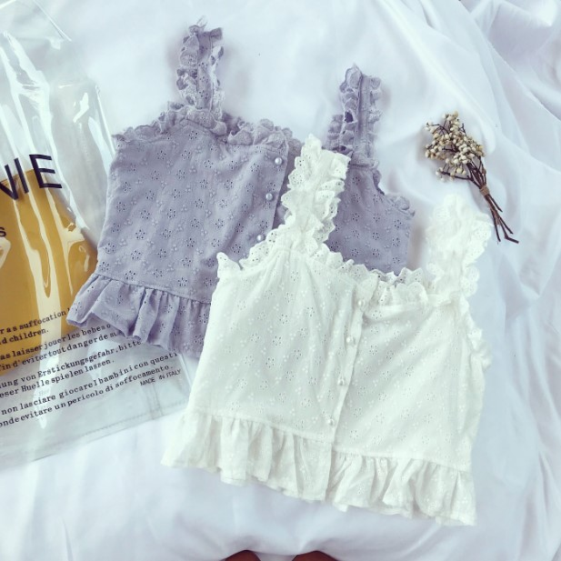 Tank     Tops   for Women Square Neck Casual Crop   Top   Style Sweet Lace Ruched Sleeveless Pearl Buttons Summer   Tops   For Holiday
