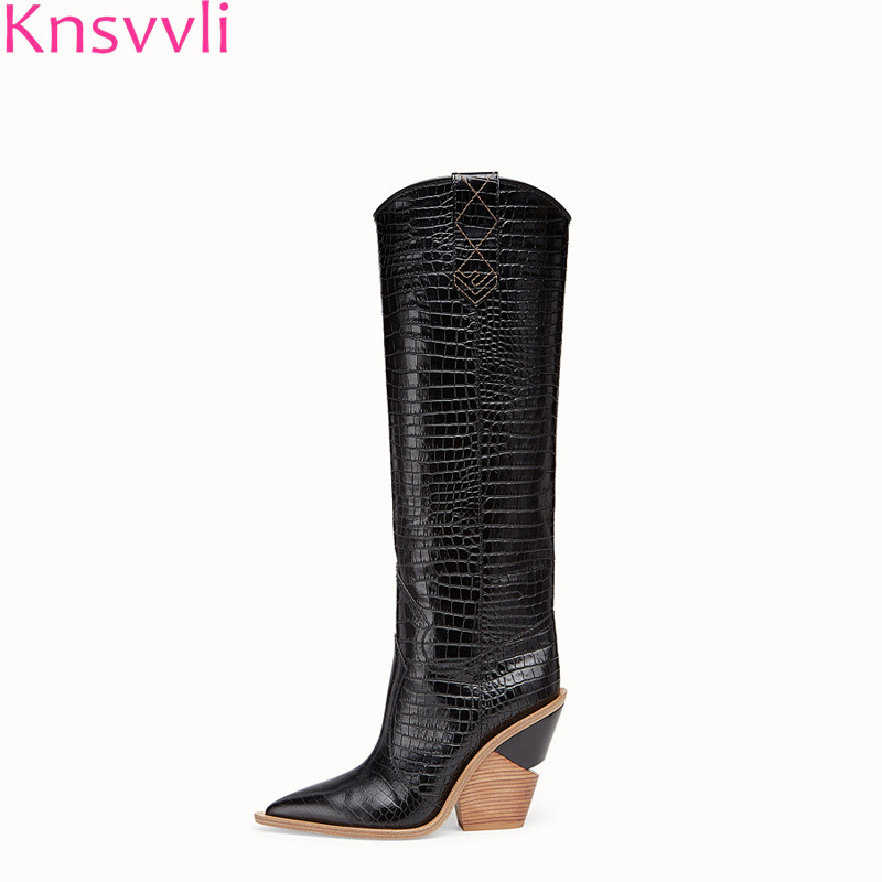 Knsvvli new pointed women strange style high heel knee high boots patchwork embossing plaid runway boots