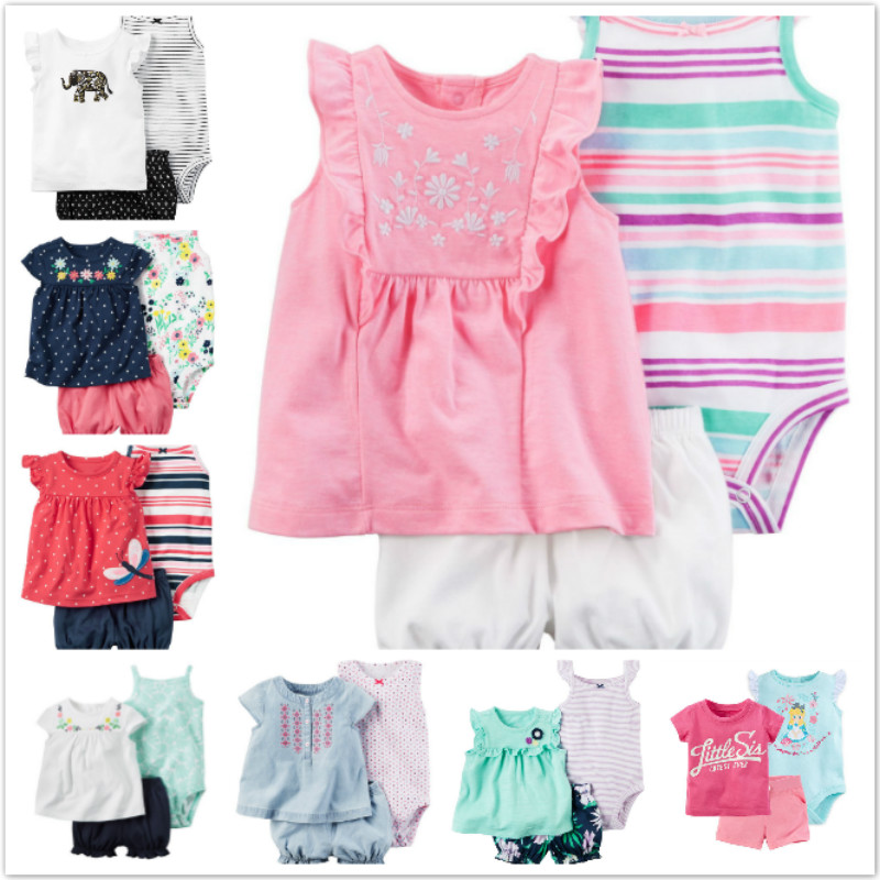 3Pcs Children Baby Girl Clothes Set 2018 Summer Casual Short-sleeved T-shirt+bodysuit+shorts 3pieces Bebe Girls Clothing Outfit