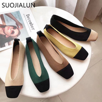SUOJIALUN 2019 Spring Women Slip On Flat Loafers Round Toe Shallow Ballet Flats Shoes Stretch Fabric Female Casual Flat Shoes B