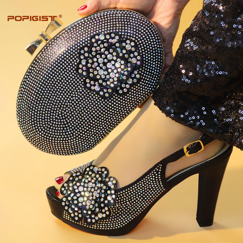 Black Color High Quality Elegant Italian Shoes with Matching Bag Shoe and Bag Set African Shoe
