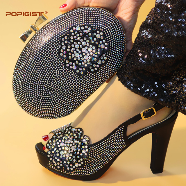 Black Color High Quality Elegant Italian Shoes with Matching Bag Shoe and Bag Set African Shoe for Women