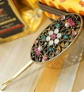 2019 Retro unique classic crystal luxury hollow Crystal hairpin side clip hair accessories hairpin wholesale
