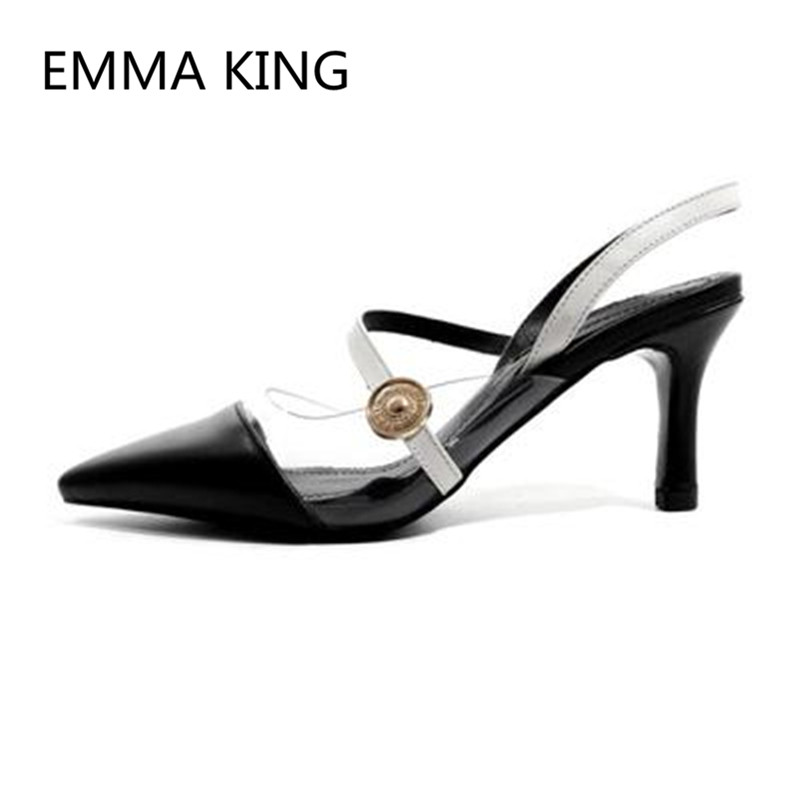 Brown Vintage Leather Women's Pumps Pointed Toe Slip On Ladies PVC Transparent Slingbacks Shoes Woman Sexy Thin High Heels Pump - 3