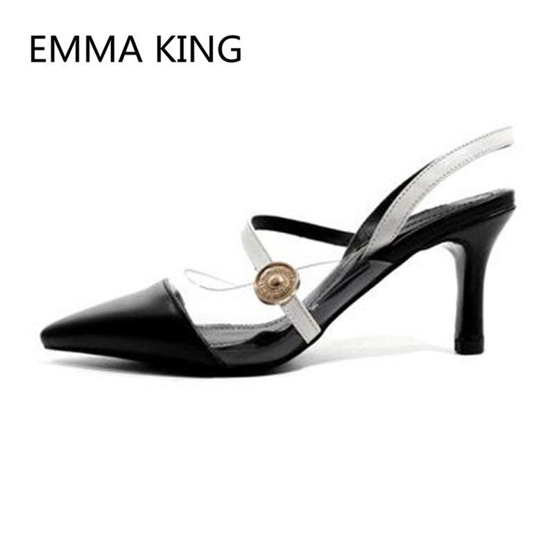 Marrone In Pelle Vintage Donne scarpe tacco alto A Punta Toe Slip On Delle Signore del PVC Trasparente Sandali Scarpe Da Donna Sexy Sottile Tacchi Alti Pompa - 3
