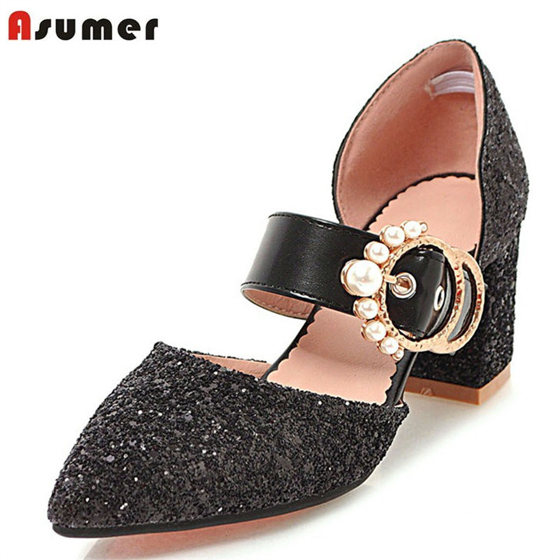 ASUMER 2018 new arrive spring autumn women pumps high heels shoes pointed toe wedding party sheos elegant bling shoes woman