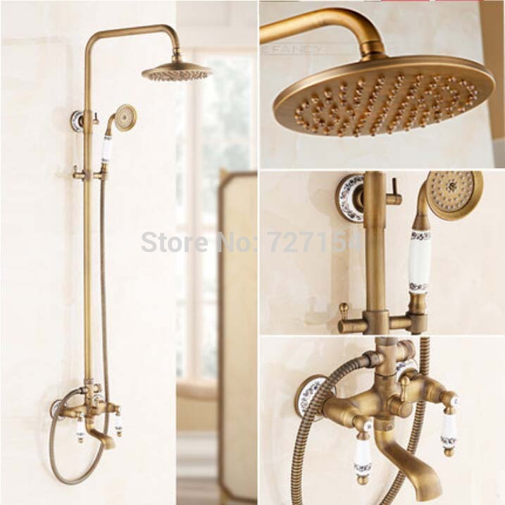 New Antique Brass Bathroom Shower Faucet W/ White And Blue Porcelain Hand Shower