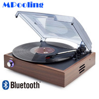 MPooling Bluetooth Vinyl Record Player Vintage Turntable Players W/ 2 Built in Speakers RCA Line out Wood AC110~130V&220~240V