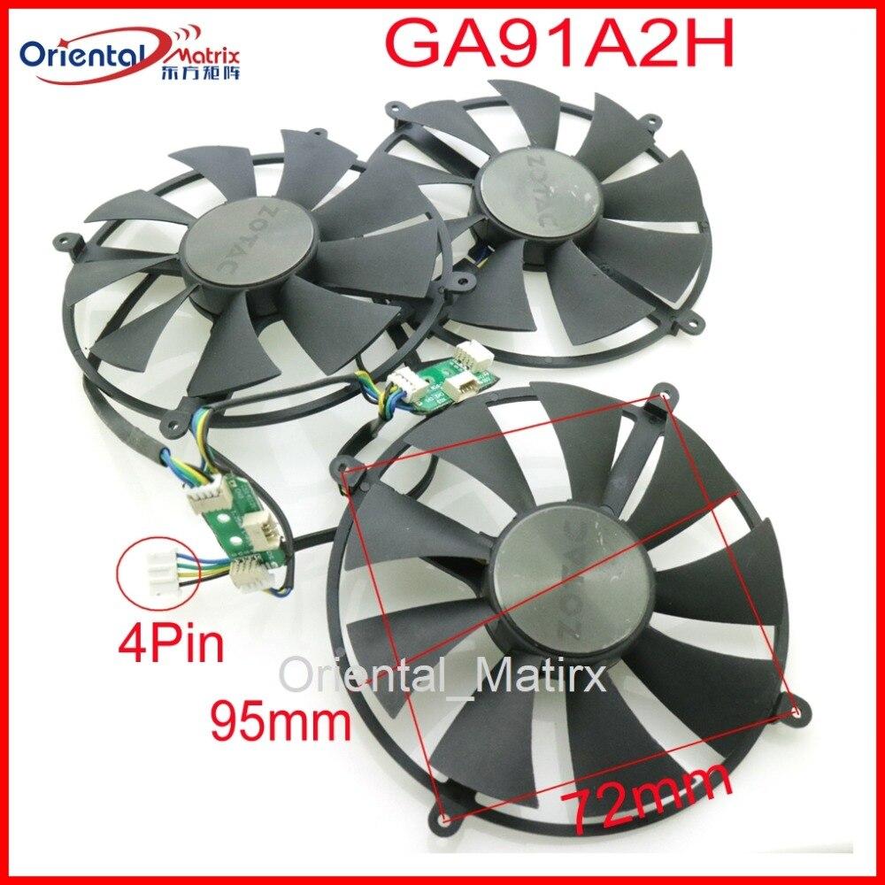 Livraison gratuite GA91A2H 12 V 0.35A 95mm 72x72x72x72mm 4Pin ventilateur pour ZOTAC GTX1080TI 1080TI ventilateur de carte graphique