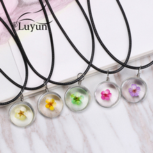 Luyun Handmade Boho Transparent Round Glass Daffodil Dried Flower Necklace Rope Chain Wholesale