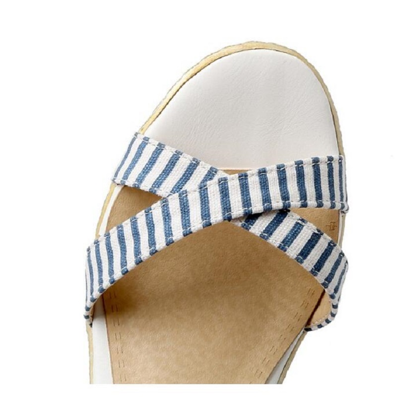 9e83117ed3fd3 Fashion Brand Designer Summer Shoes New Striped Fish Mouth Wedge Sandals  Casual Comfortable Waterproof Sexy High Heel Shoes-in High Heels from Shoes  on ...