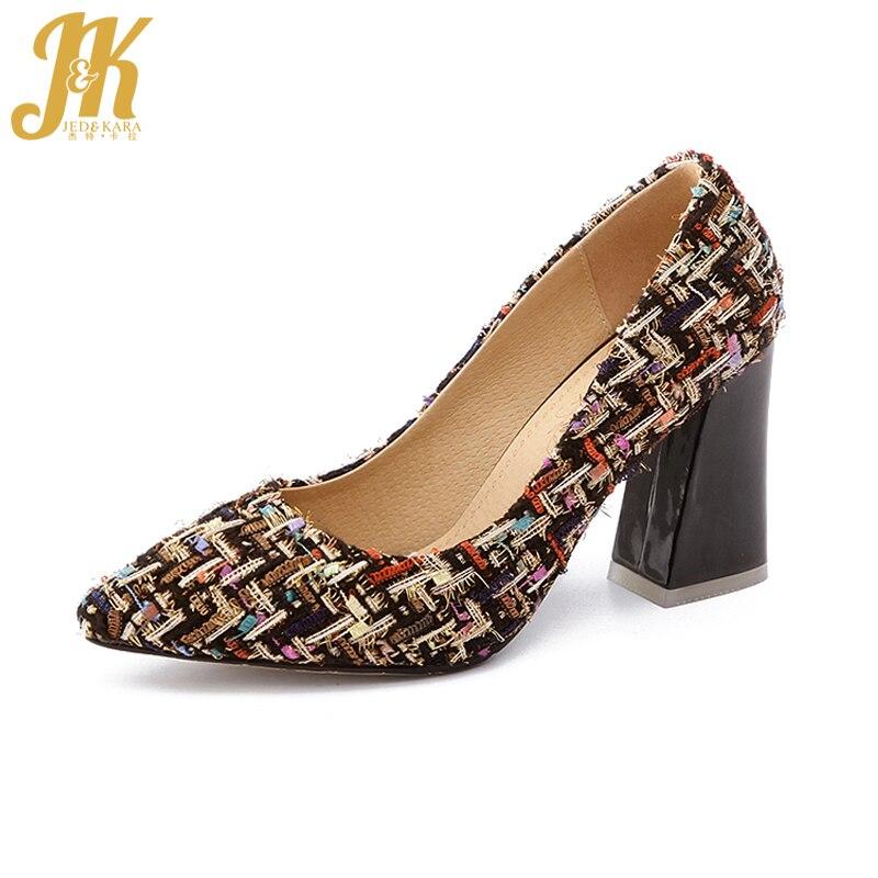JK 2018 Femmes Haute Chaussures Marque Supérieure De Base Pompes pour Femme épais Haute Talons Chaussures bout Pointu Lady Talons Grande Taille 32-46