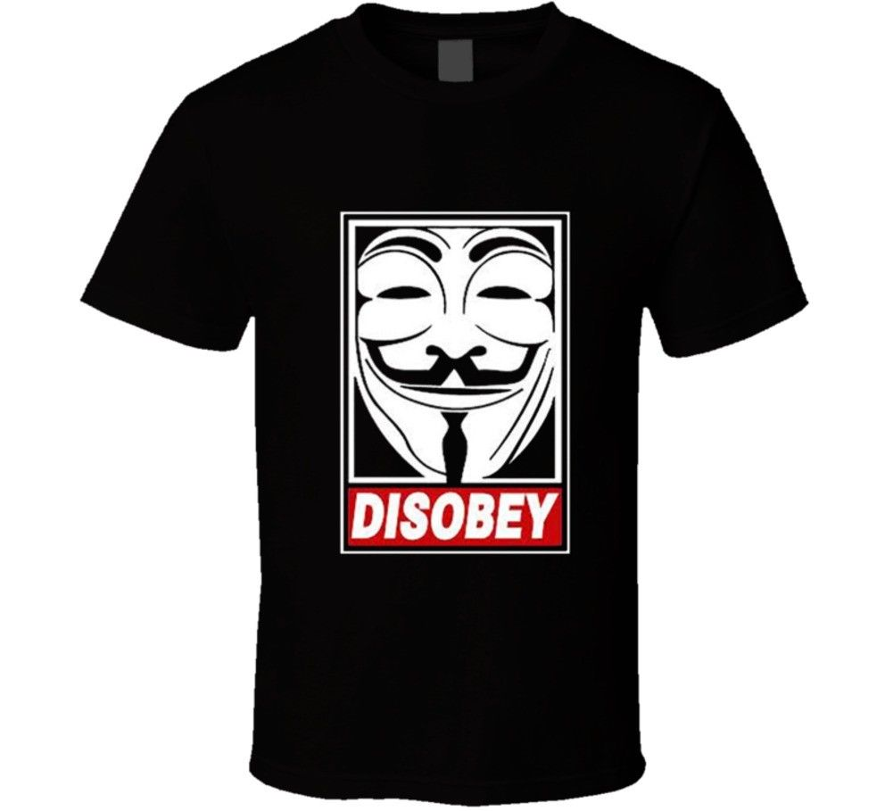 V for Vendetta Disobey Anonymous Guy Fawkes Mask Hacker T Shirt Tees Brand Clothing Funny T Shirt Top Tee in T Shirts from Men 39 s Clothing