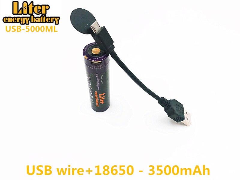 Image 3 - 2PCS Laptop battery USB 18650 3500mAh 3.7V Li ion Rechargebale battery USB 5000ML Li ion battery + USB wire-in Laptop Batteries from Computer & Office