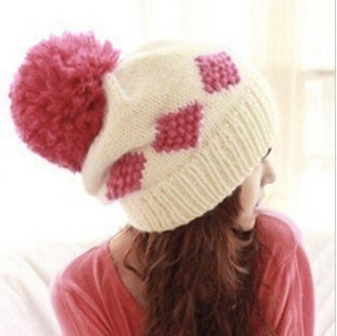 6a7429be37c Korean cute girl Winter Hat Ball Cap winter wool hat-in Skullies ...