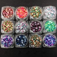 New 12 Colors Set Korean 3D High Shining Summer AB Mermaid Pearls Nail Art Shell Pearls