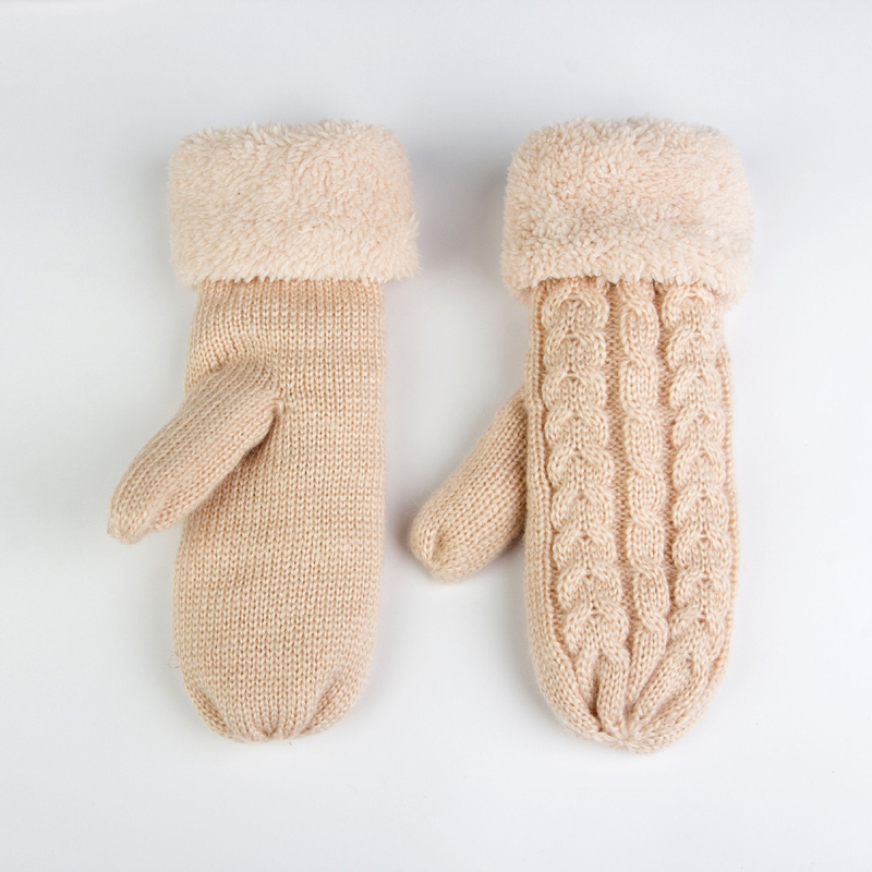 Fashion Solid Mohair Cashmere Winter Gloves Women Warm Sheep Wool Knit Twist Full Finger Mittens For Ladies Mitaine Laine Femme plus size women in leather