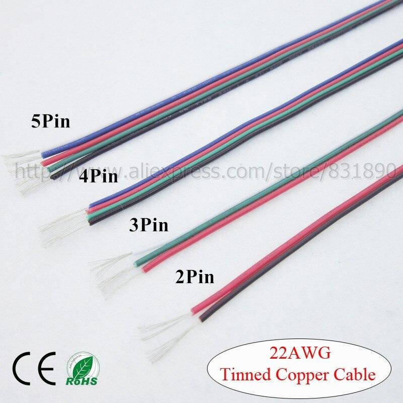 Verzinnt kupfer 22AWG kabel, 2Pin 3Pin 4Pin 5Pin draht 1 Mt 2 Mt 3 ...