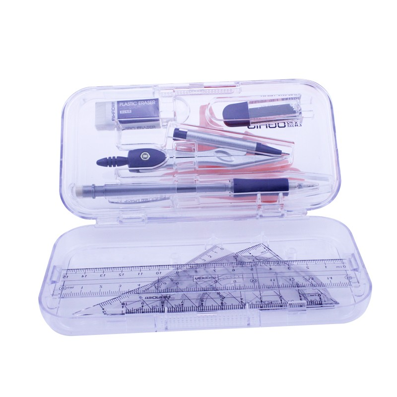 8 In 1 0.7mm Lead Mechanical Pencil Compass Set With 15cm Straight Ruler Eraser Protractor Math Set For School