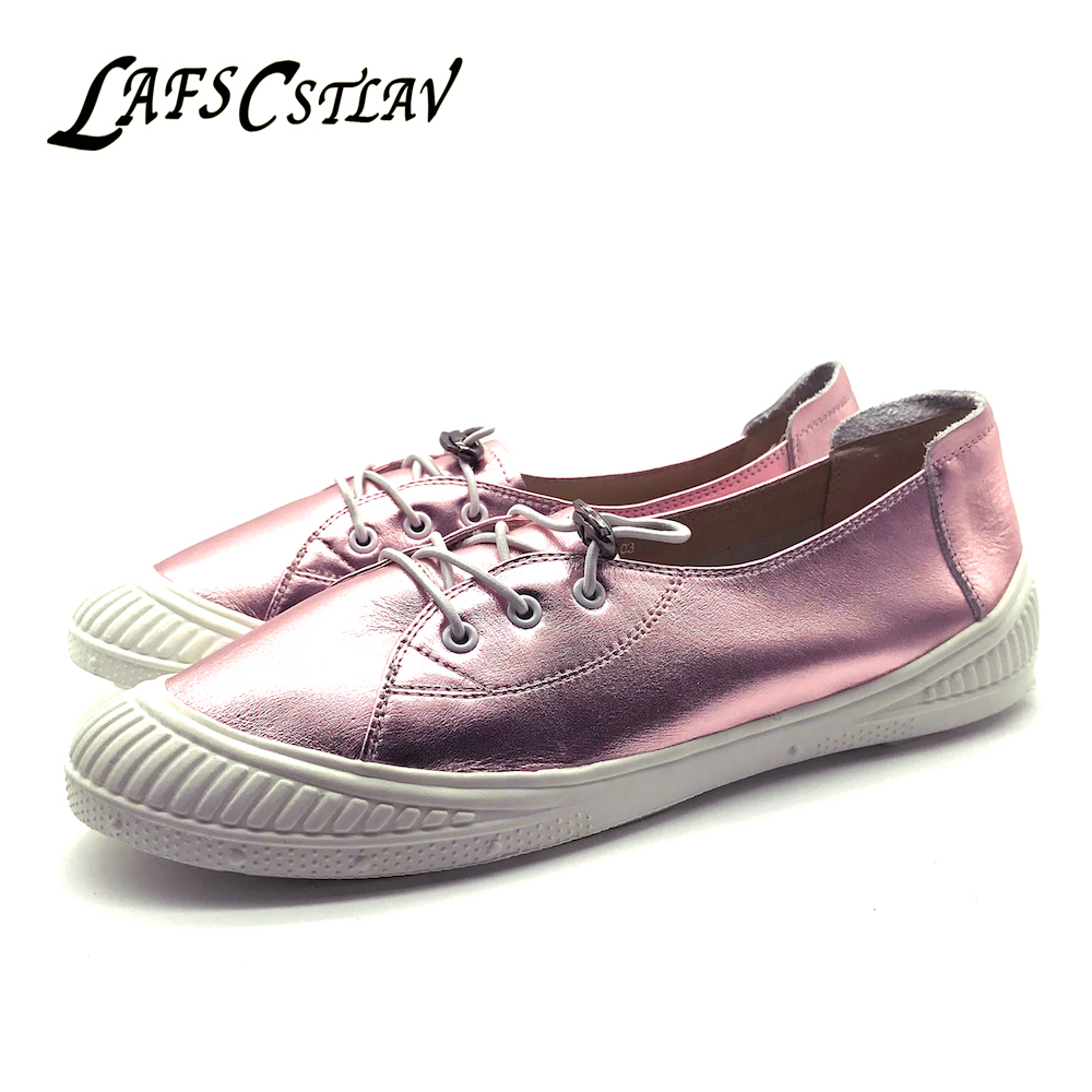 LAFS CSTLAV Genuine Leather Basic Flats Shoes Woman Sweet Beautiful Comfortable Casual Lace Up Round Toe Flat Brand Women Shoes 2017 new women shoes genuine leather casual shoes flats breathable lace up soft fashion brand shoes comfortable round toe white