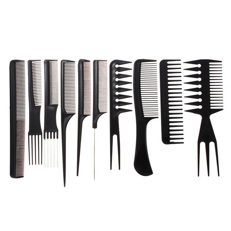 10pcs/Set Professional Hair Brush Comb Salon Barber Anti-static Hair Combs Hairbrush Hairdressing Combs Styling Tools Hair Care(China)
