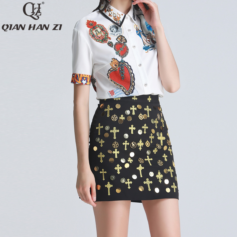 Qian Han Zi 2019 Designer fashion 2 piece set Women's Short Sleeve Printed White Shirt+Embroidered Vintage Mini Skirt Suit sets-in Women's Sets from Women's Clothing    1