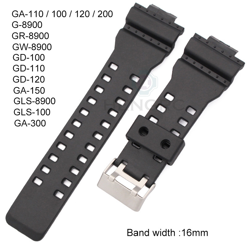 Wholesale 20pcs Rubber Watchbands Men Black Sport Diving Silicone 16mm Watch Strap Band Metal Buckle For