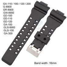 Wholesale 20pcs Rubber Watchbands Men Black Sport Diving Silicone 16mm Watch Str