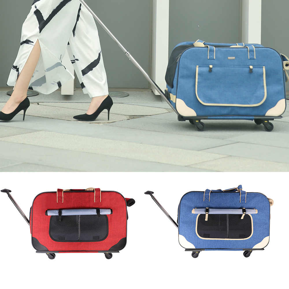 Pet Dog Carrier Bags with Removable Rolling Wheels Dogs Cats Carrier Backpack Breathable Luggage Pets Car Travel Transport Bags