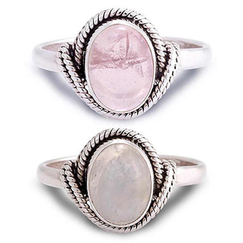 Европейская мода ретро Женское Обручальное кольцо розовый лунный камень винтажное круглое обручальное кольцо ювелирные изделия подарок