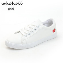 Whoholl Spring/Summer Sweet Love Heart White Sneakers Women Ultra-soft Lace-up Casual Shoes Flat Platform Girl