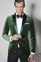 Custom Made Green Velvet Tuxedo Jacket Men Suit jacket Elegant Smoking Dinner Jacket Slim Fit Wedding Suits For Men