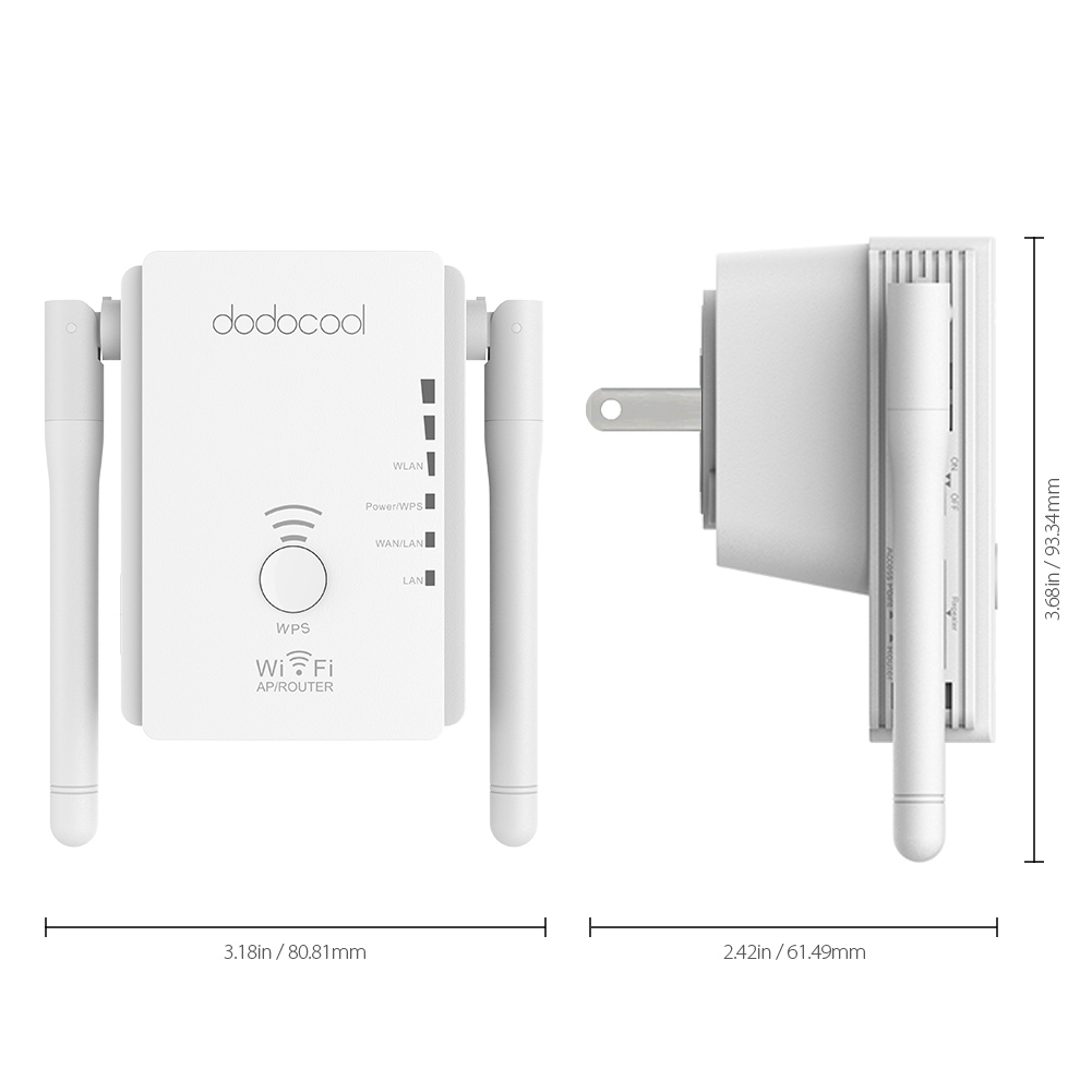 US $18 7 36% OFF|dodocool N300 Mini WiFi Repeater / Router / Access Point  WiFi Range Extender with 2 External Antennas WPS Protection EU/US Plug-in