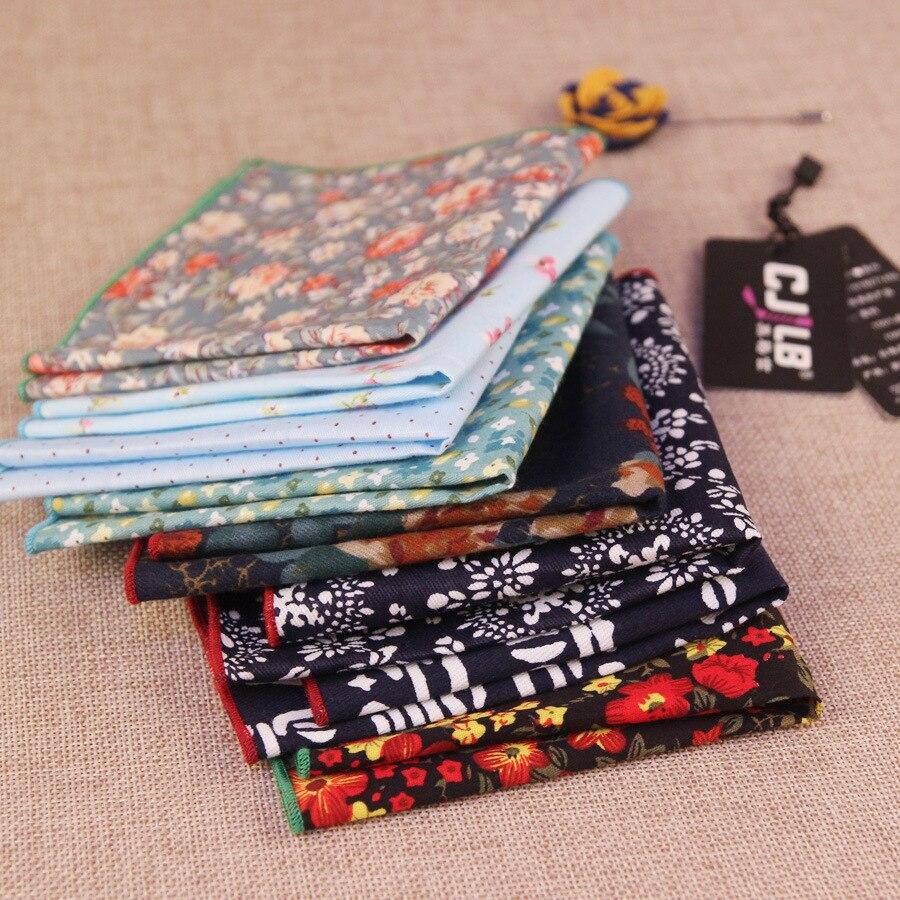 10pcs/lot   16color High Quality Mens Pocket Square Cotton Print Ladies Cotton Handkerchiefs Vintage Hankies Wedding Suit
