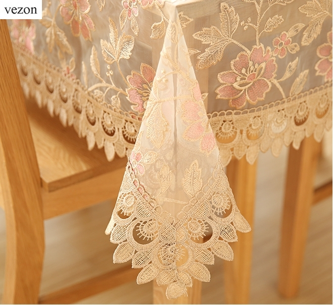 Vezon New Hot Sale Elegant Polyester Full Lace Tablecloth