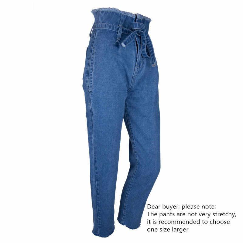 25ceadcba6b ... BOOFEENAA пояса Высокая Талия Рваные Джинсы женские Винтаж Mom jeans  цвет  черный