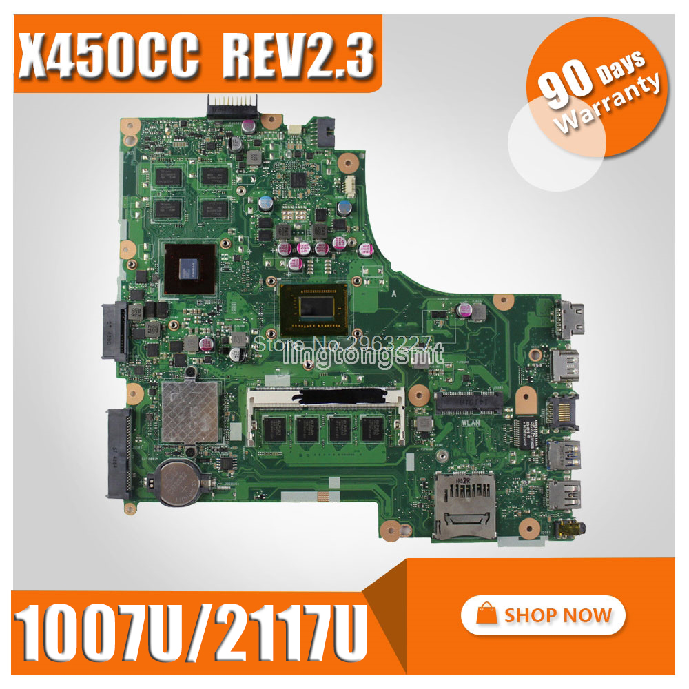 X450CC motherboard 1007u/2117U GT 720M REV2.3 for ASUS X450CC laptop motherboard X450CC Mainboard test 100% ok for asus x450cc laptop motherboard i3 3217u 2g video memory x450cc motherboard 4g ram rev2 3 100% tested
