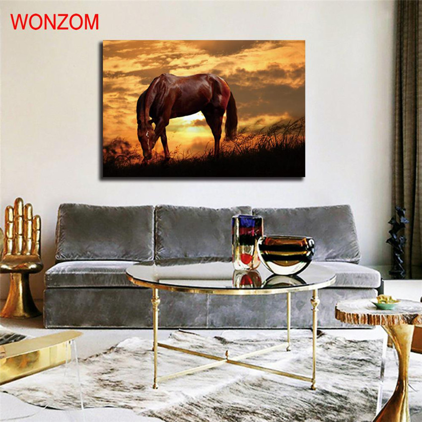 Sunset Horse Canvas Painting Animal Poster Vintage Grassland Unframed Wall Picture For Home Decoration 2017 Cadre Decoratif