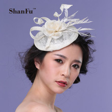 ShanFu Sinamay Fascinator Hat Linen chassis Hat with party Hat  SFC12559
