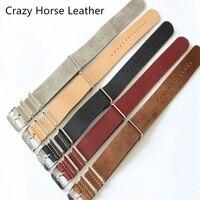TJP 20 MM 22 MM 24 MM Grijs Kaki Bruin Rode Echt Crazy paard Lederen Armband NATO HORLOGEBAND bands Voor DW Casual Horloges
