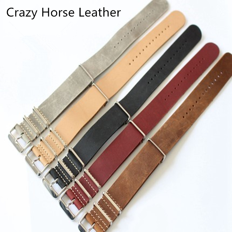 TJP 20MM 22MM 24MM Gray Khaki Black Brown Red Genuine Crazy Horse Leather Bracelet NATO Watch Strap bands For DW Casual Watches tjp handmade classic 18mm 20mm 22mm 24mm brown green khaki black nato genuine crazy horse leather sport pilot watch bands strap