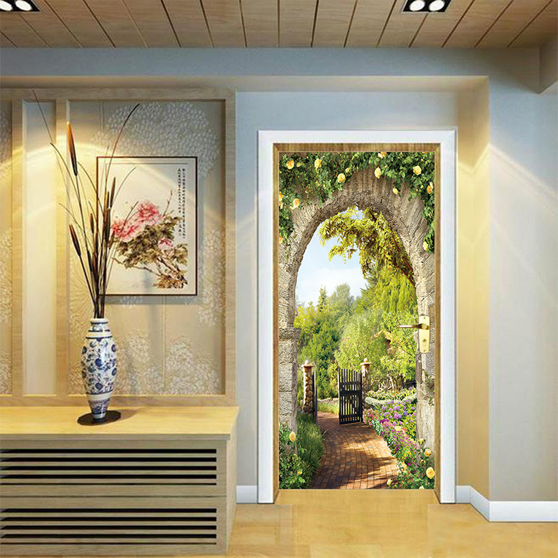 3D Doors Italian Arch Flowers Landscape Corridor Door Background Decorative PVC Wall Sticker Home Bedroom Living Room Decor